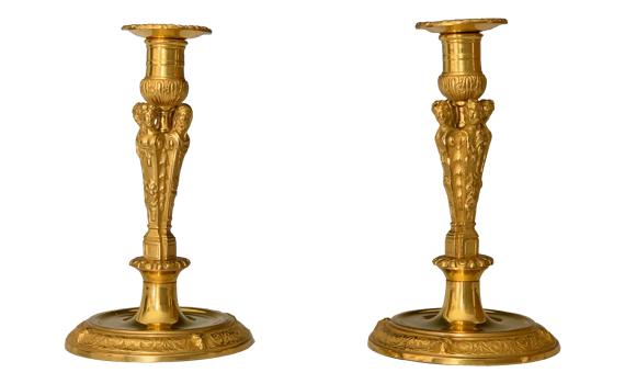 Antique Regence Period Ormolu Four Seasons Candlesticks