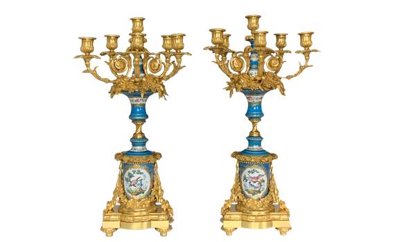 Antique Napoleon III Ormolu Mounted Sevres Style Porcelain Candelabra