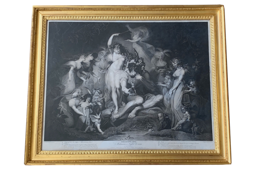 Antique George III Engraving After Fuseli Engraved by Simon 'Midsummer Nights Dream'