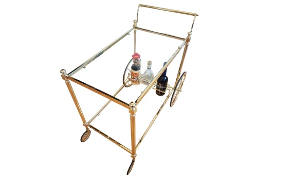 Mid Century French Polished Brass Drinks Trolley