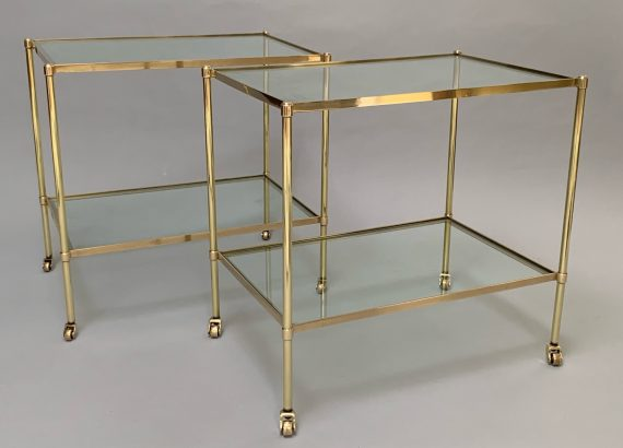 Mid Century Pair of Polished Brass & Glass Side Tables